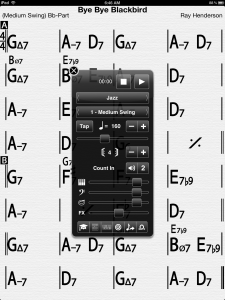 iRealB - Note that it even transposes for you. It's currently in Bb mode.